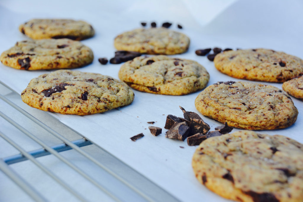 Espresso dark chocolate chip cookies with coffee beans
