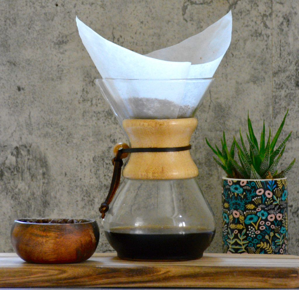 Chemex coffee and filter with succulent on wood slab
