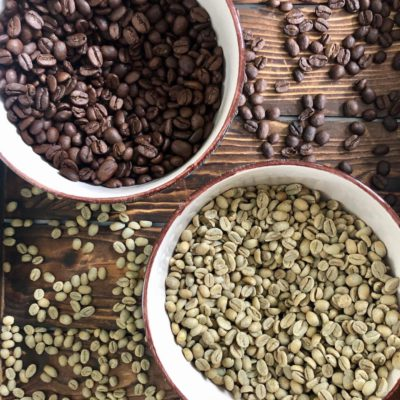 green coffee beans and home roasted coffee beans