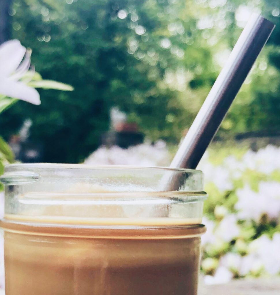 stainless steel straw in iced latte