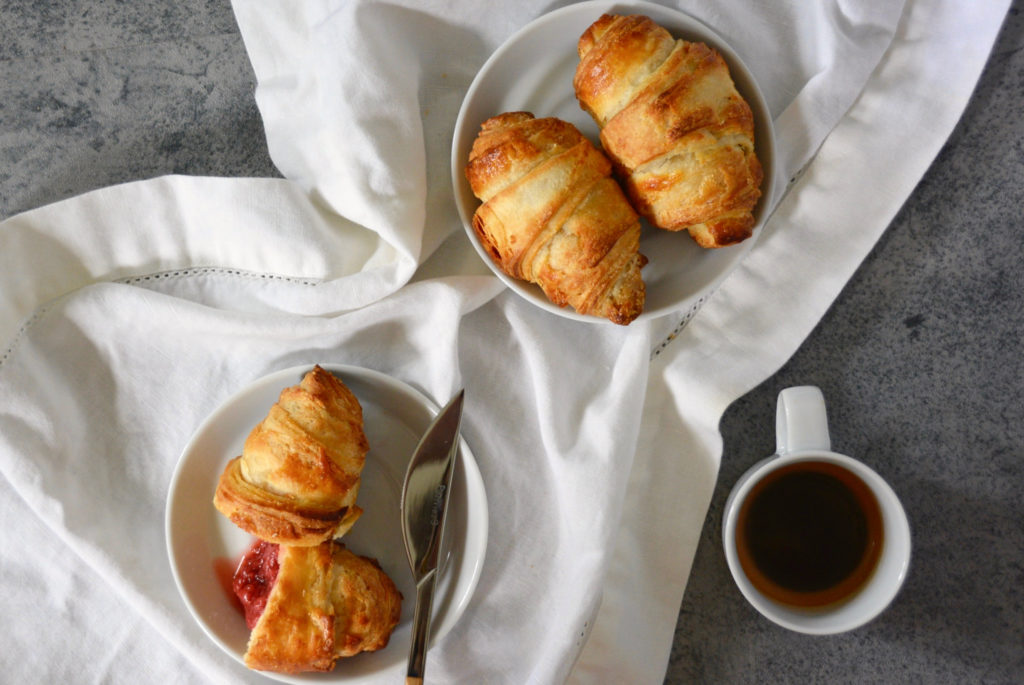 butter croissants and coffee