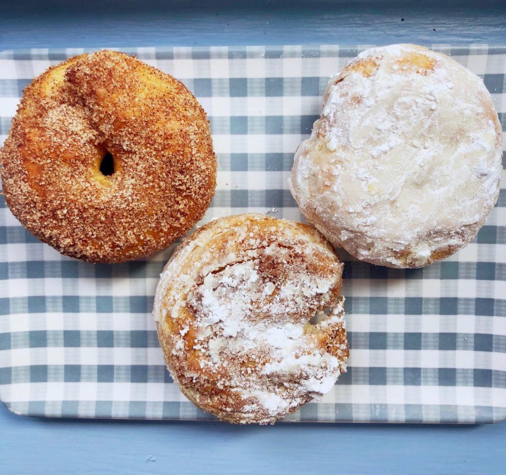 cinnamon sugar donut and powdered sugar donut