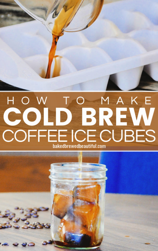 cold brew being poured into a mason jar with cold brew coffee ice cubes on a wooden table and ca blue chair in background
