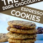 espresso chocolate chip cookies on parchment paper with coffee beans in background