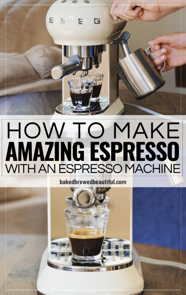 smeg espresso machine cream color making espresso in use