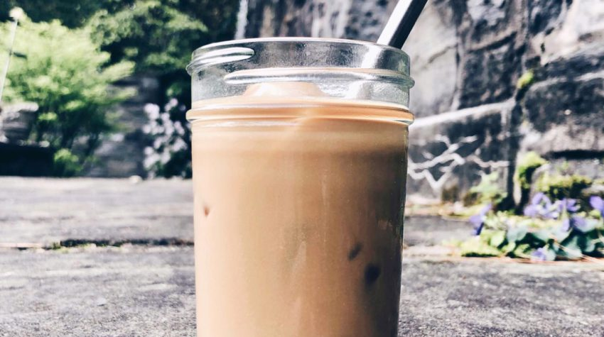 iced latte with steel straw