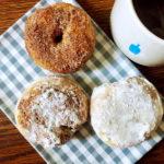 cinnamon sugar donut and powdered sugar donut with blue bottle coffee