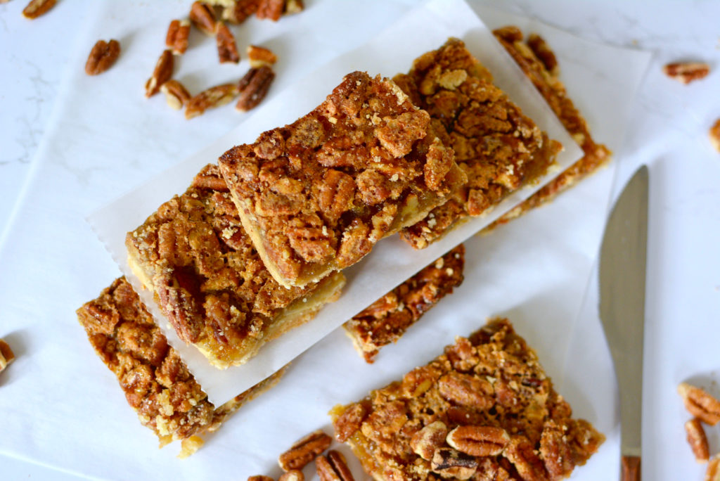 Pecan Pie Bars in a stack
