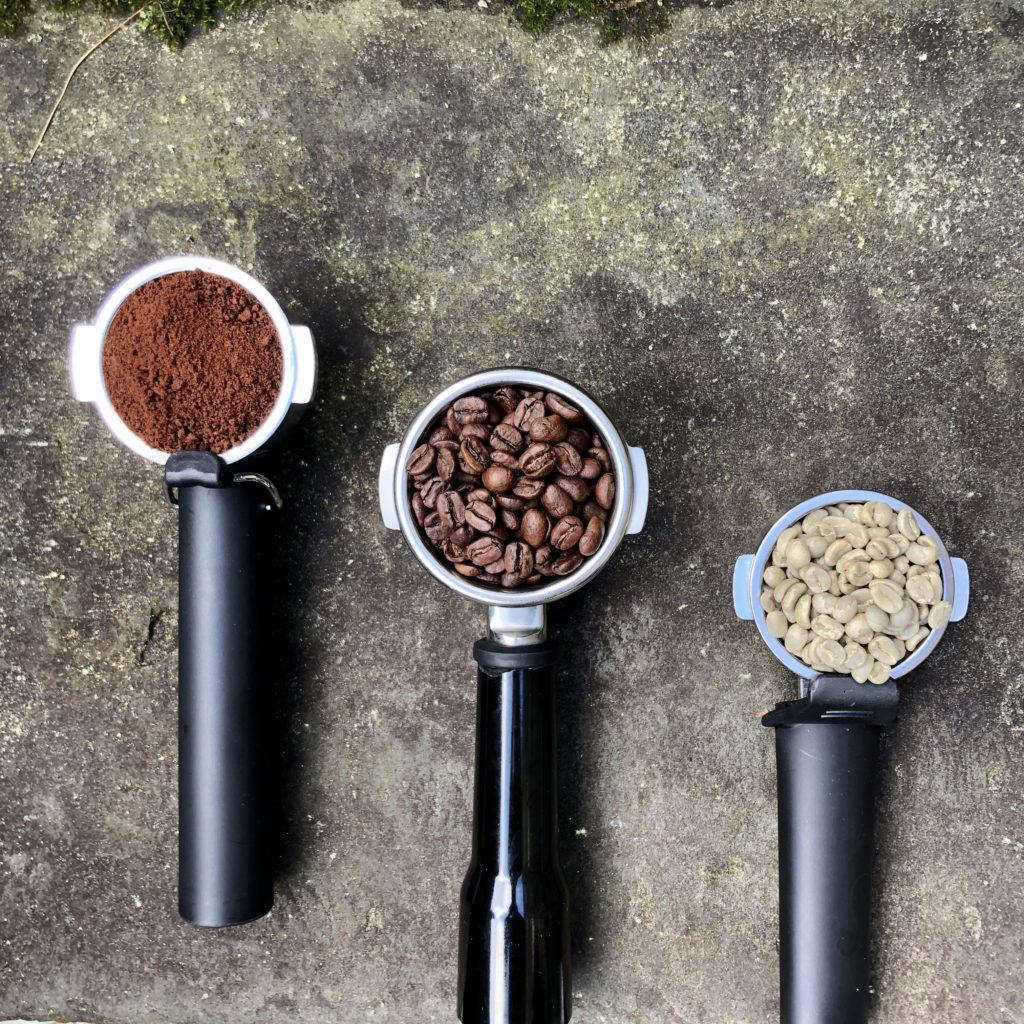 coffee beans in stages in grouphead