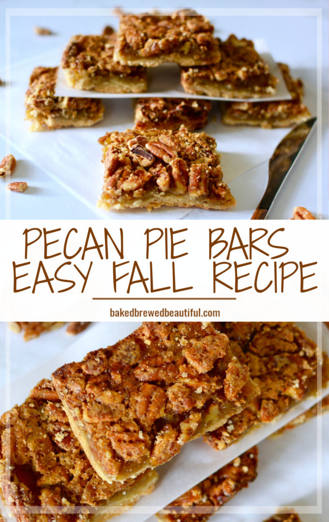 Pecan pie bars on parchment paper