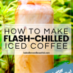 iced coffee outside with swirled milk with a green leaf background