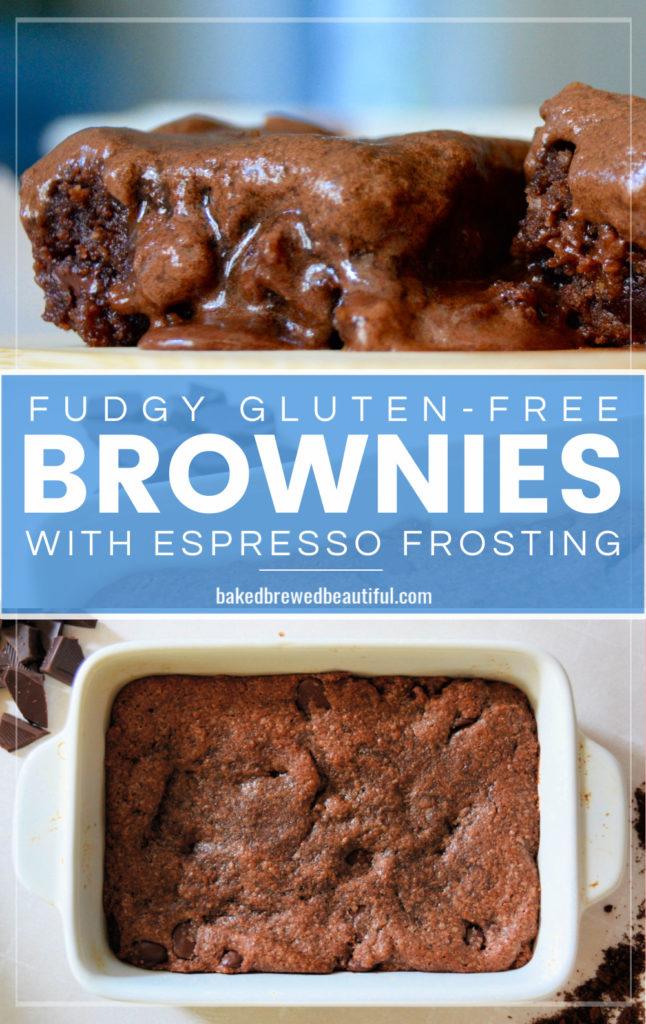 Gluten free espresso brownies in pan