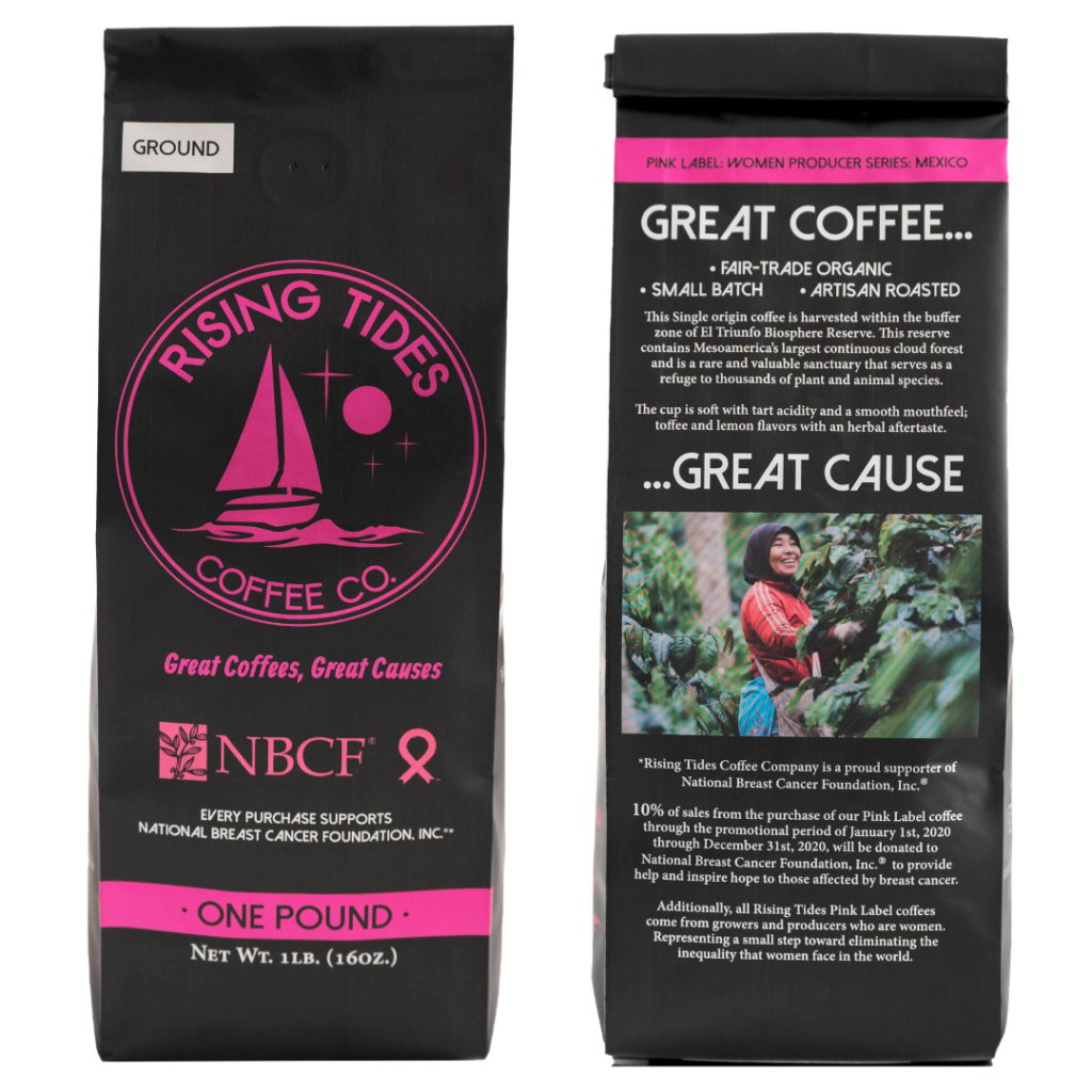 rising tides coffee bag pink label