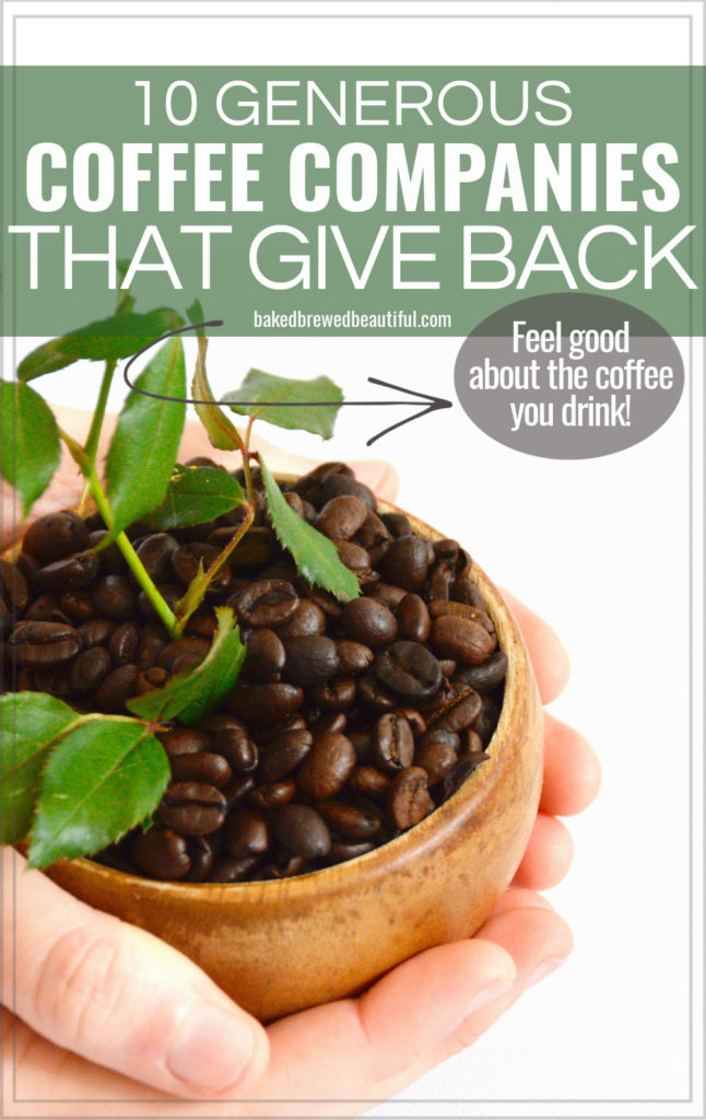 hands held out - one is giving away coffee beans in a bowl with a plant