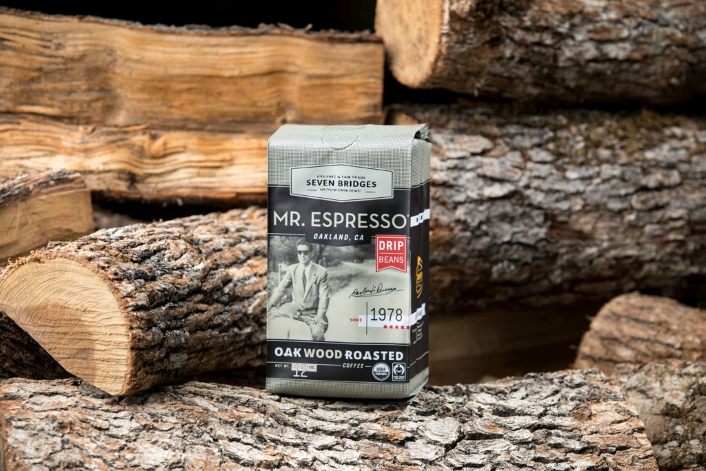 Mr. Espresso No Kid Hungry coffee bag with wooden background