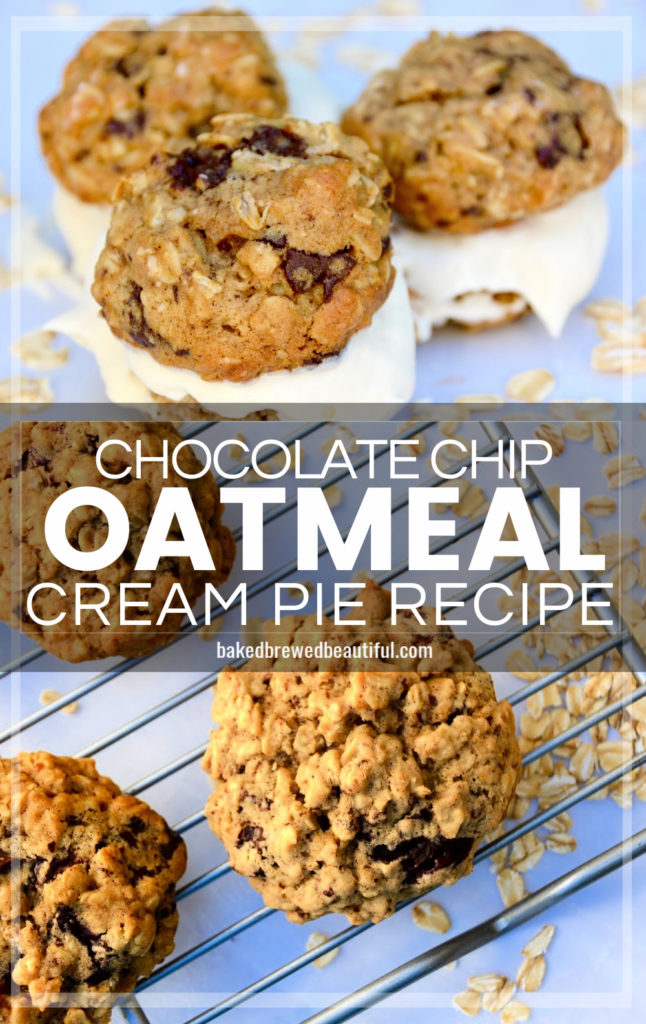 oatmeal cream pies with chocolate chips on parchment paper