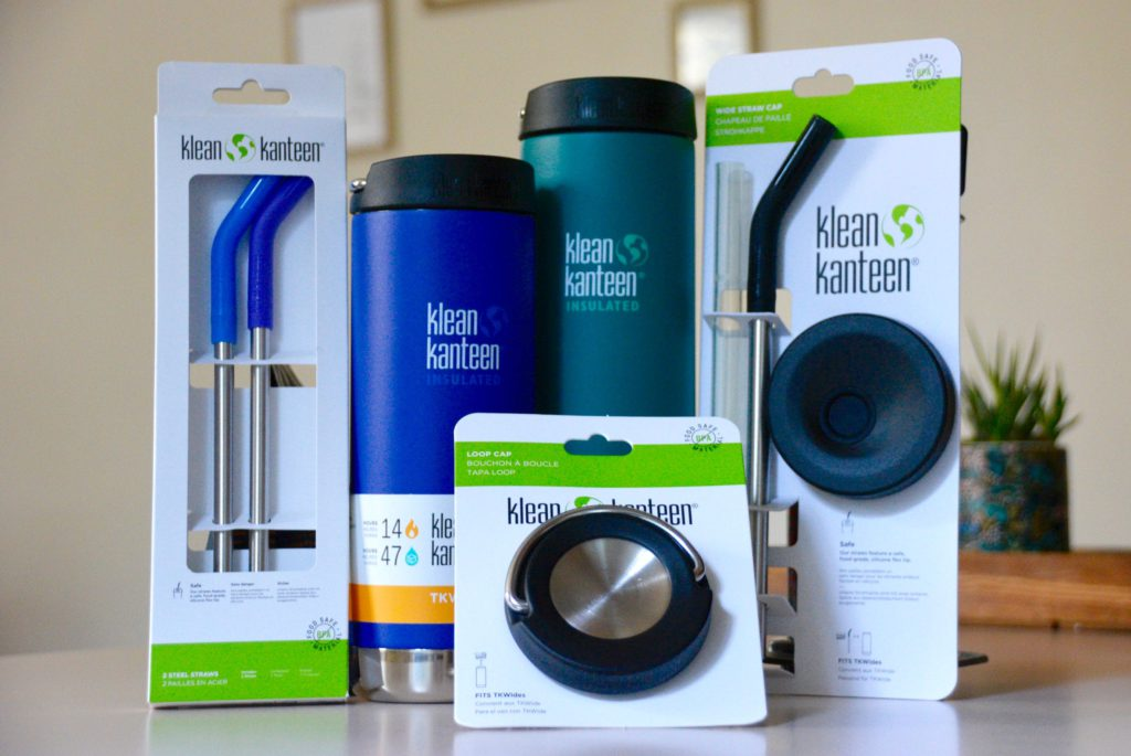 Klean Kanteen Coffee and Tea Kit Bundle on a counter with lids and thermoses