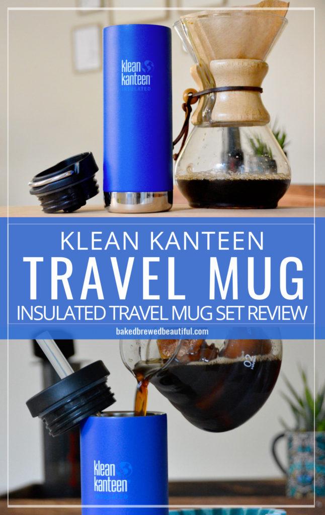 one blue klean Kanteen travel mug and an origami dripper
