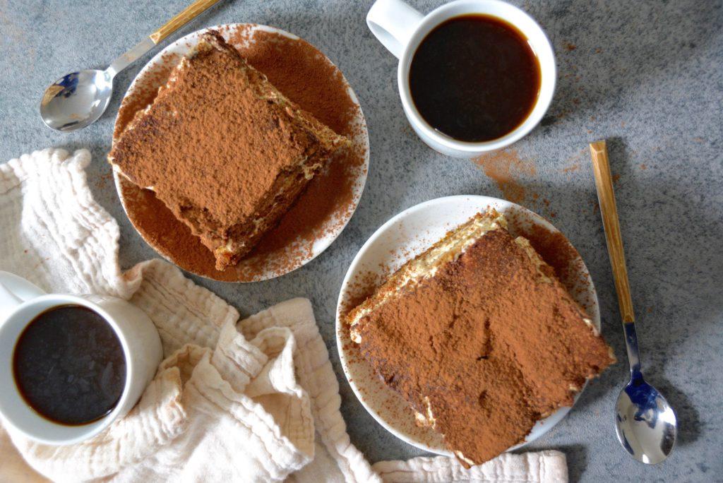 tiramisu flat lay with coffee cups
