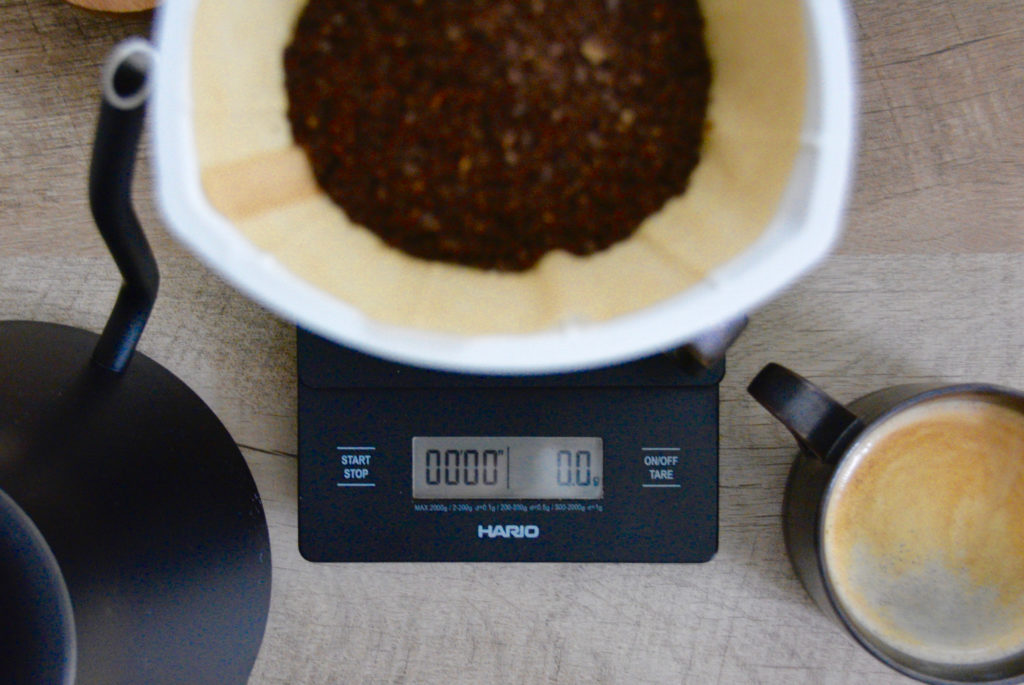 pour over coffee brewer on coffee scale