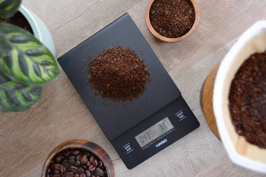 coffee scale with grounds on scale