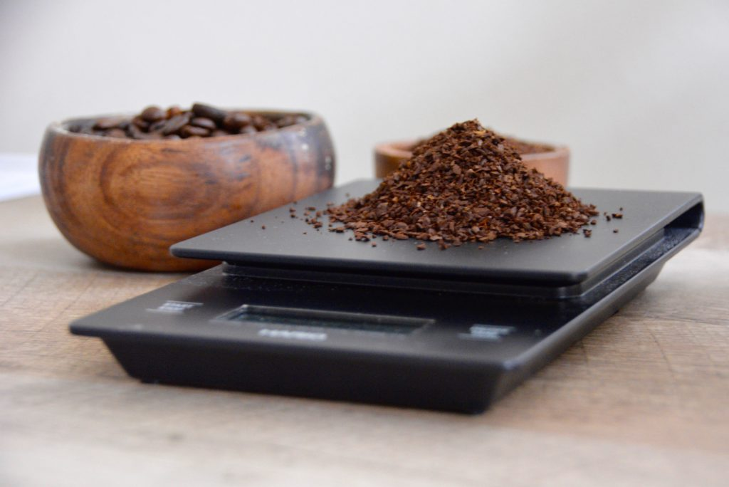 coffee scale with coffee grounds