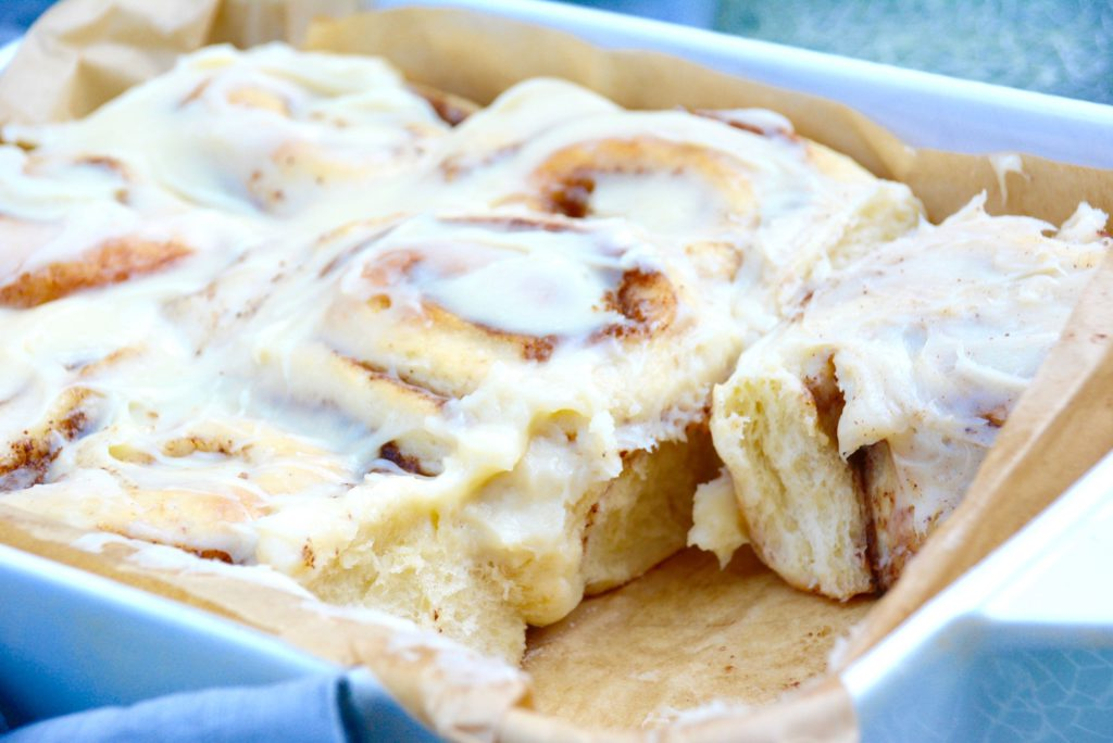 baking pan of cinnamon rolls