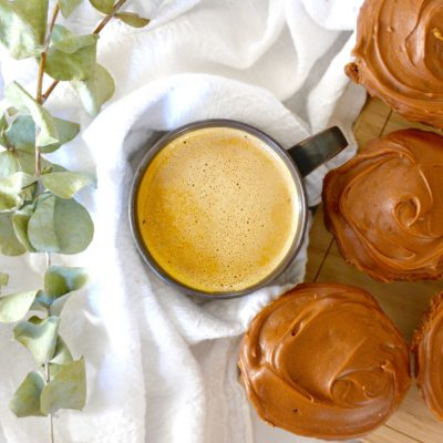 chai latte cupcakes with coffee and eucalyptus