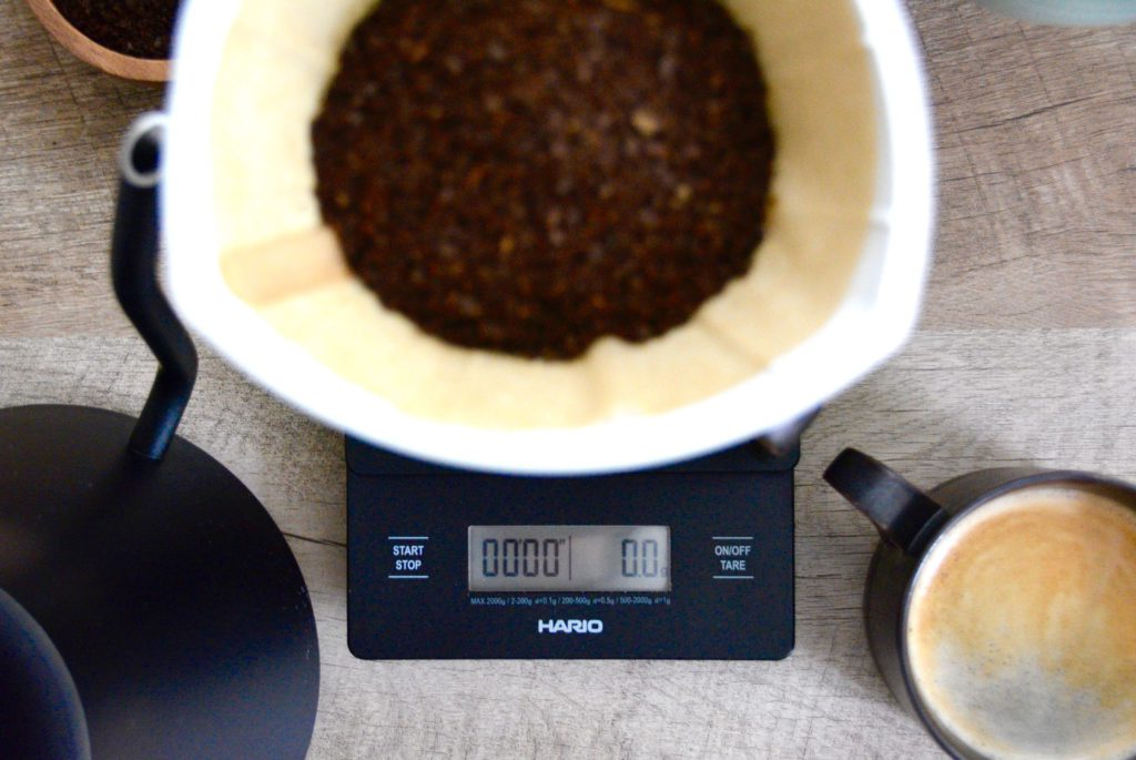 close up of coffee scale and pour over tools for coffee