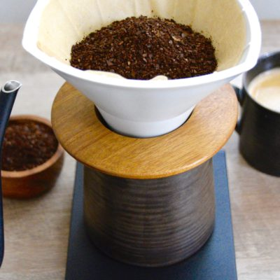 pour over coffee with coffee cups