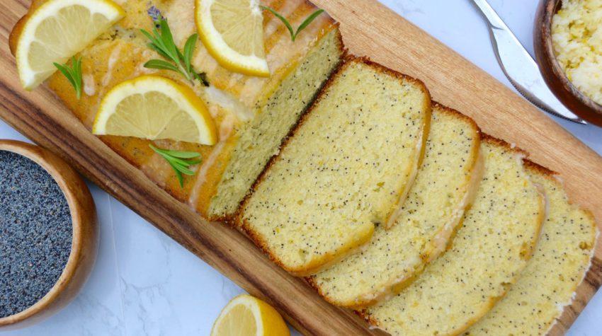 lemon poppy seed loaf cake on marble