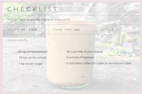 checklist for almond essence latte