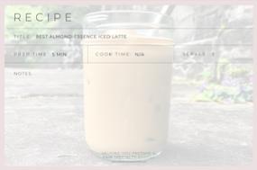 recipe card for almond essence latte
