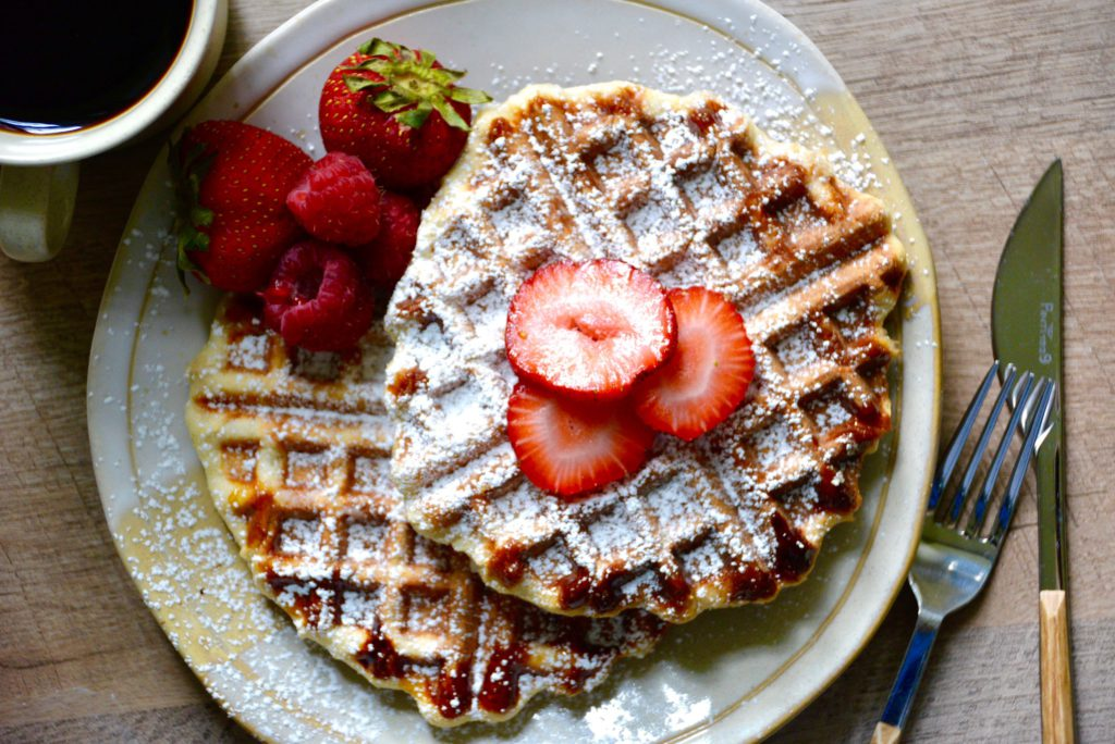 Belgian Liege Waffles with sliced strawberries