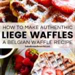 Liege waffles with strawberries close up