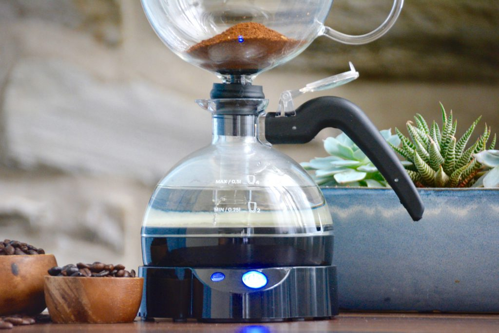 close up of a vacuum siphon coffee maker