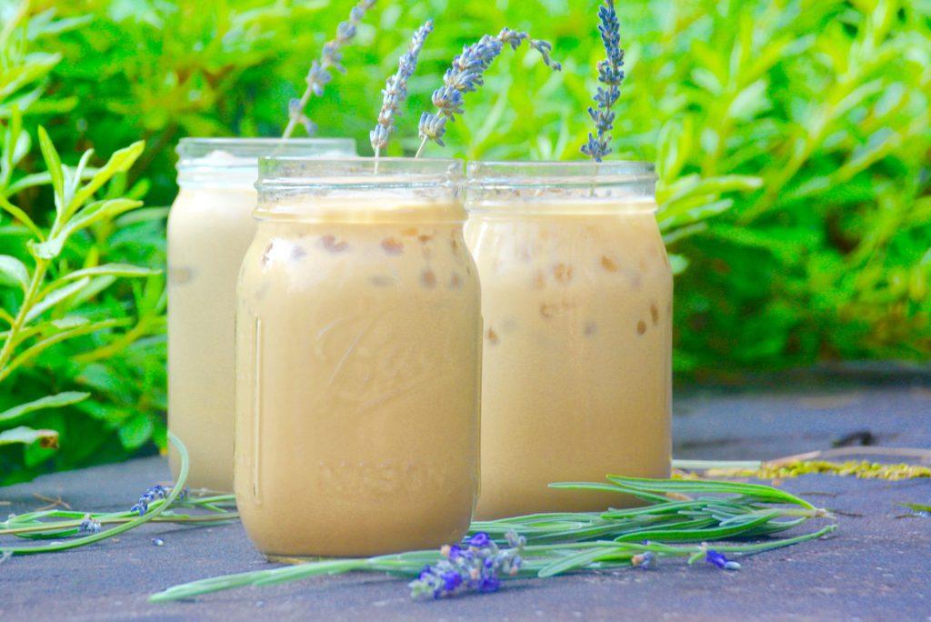 3 mason jars with honey lavender iced lattes
