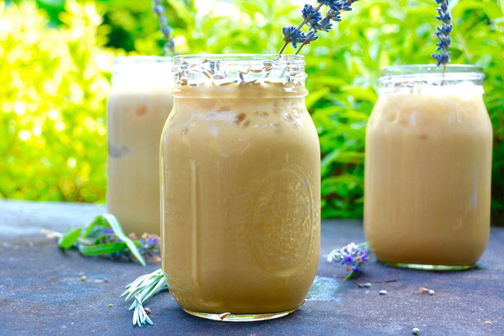 3 iced honey lavender instant latte with oat milk in mason jars