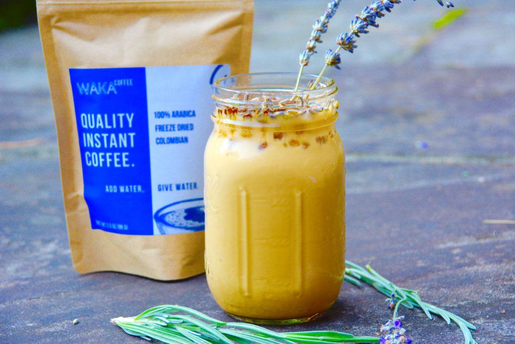 Waka coffee behind honey lavender iced latte